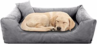 Pet Royale Reversable Velvet Bed for Big Dogs with Extra Detachable Cotton Seat Cover (Grey)