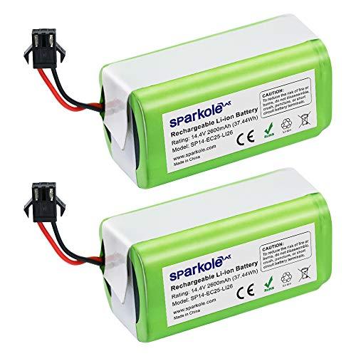 SPARKOLE 2 Pack 14.4V 2600mAh Replacement Battery for Ecovacs Deebot N79S,...
