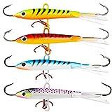 Sougayilang Ice Fishing Lures with 3 Sharp Hooks Winter Lifelike Fishing Baits Ice Jigging Lures Kit for Bass Walleye (4 Pcs,4 Colors)