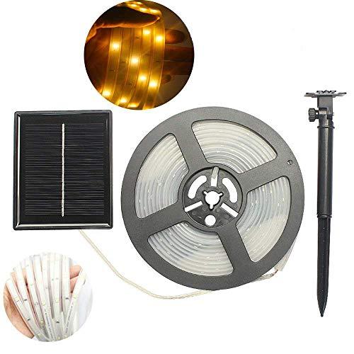 Tira de luz LED para exteriores de DINOWIN, impermeable, funciona con energía solar, 5 m, flexible, SMD2835, 100 luces LED, para cocinas, habitaciones, teatros, fiestas o decoración de Navidad