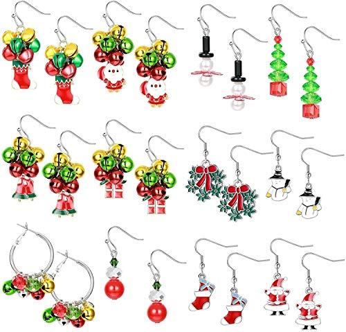 LQXZJ Tema de Navidad 12pcs joyería de los pendientes de favores pendientes Campana Navidad de las mujeres gota cuelga los pendientes Conjunto de vacaciones de Navidad regalos de la joyería del partid