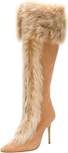 Femmes Hiver Suède Pointu Poilu Manche Talon Haut Pompe Le Genou Bottes,marron,38