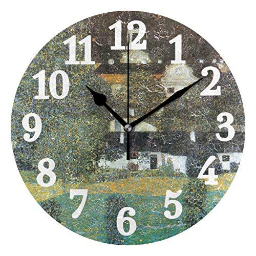 Ahomy leise runde Wanduhr Gustav Klimt Ölgemälde Haus Garten Home Art Decor 25,4 cm Uhr für Wohnzimmer, Schlafzimmer und Küche