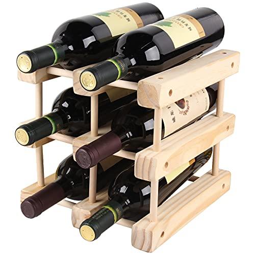 Madera De Madera Para 6 Botellas, Bastidores De Vino Modular Para Cocina, Armario, Bar, Bodega, Jardín, Minibar, Escalable,Primary color