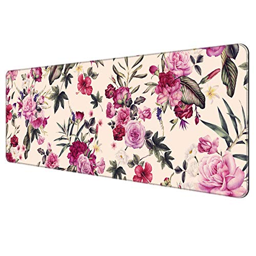 Dynippy Thin Extended Gaming Mouse Pad with Stitched Edges Large Mousepad Long XXL Keyboard and Mouse pad Desk Mat for Gaming Office & Home - Vintage Pink Flowers