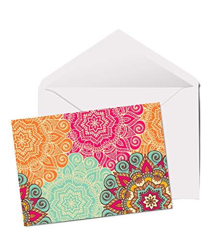 #12574 Glückwunschkarte mit Mandala-Muster, A5, blanko, Geburtstagskarte, lustige Kunst indisch