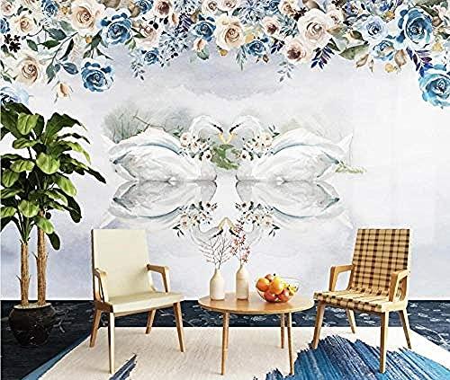 Fondo de pantalla de amor hermoso cisne flor acuarela pintada a mano Pared Pintado Papel tapiz 3D Decoración dormitorio Fotomural de estar sala sofá mural-350cm×256cm