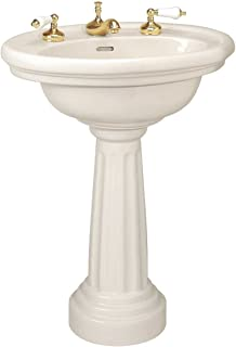 Renovator's Supply Deluxe Biscuit Bathroom Pedestal Sink Colonial Philadelphia Design With Overflow Grade A Vitreous China Freestanding Or Wall Mount 32 1/4 H X 26 1/8 W X 19 3/8 Proj. Inch