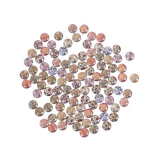 SUPVOX 100 Stücke Glasnuggets Glasmosaik Glassteine Muggelsteine Mosaiksteine Selbstklebend Cabochon Glas Edelstein für für DIY Handwerk Armband Anhänger Schmuckherstellung 10mm