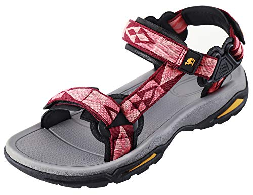 CAMEL CROWN Waterproof Hiking Sandals Women Arch Support Sport Sandals Comfortable Walking Water Sandals for Beach Travel Athletic Red