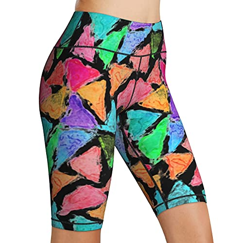 Inaayayi Pantalones cortos de yoga de cintura alta para mujer, pantalones cortos de yoga, Negro, XL