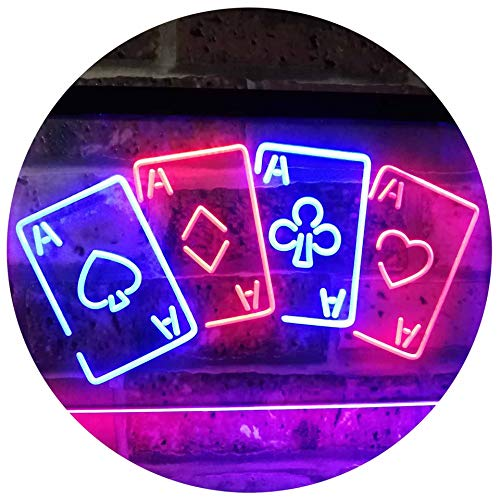 Four Aces Poker Casino Man Cave Bar Dual Color LED Barlicht Neonlicht Lichtwerbung Neon Sign Blau & Rot 300 x 210mm st6s32-i2705-br