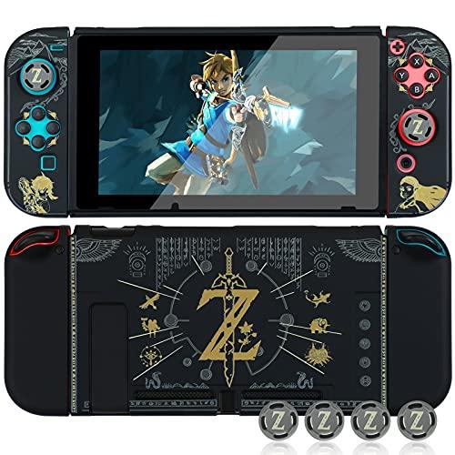 Schutzhülle für Nintendo Switch, Dockable Case Cover für Nintendo Switch und Joy Con Controller mit 4 Daumengriffen (The Legend of Zelda)