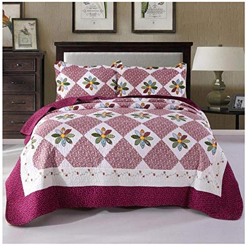 CXDDD Bettdecke + 2 Stück Kissenbezüge Neo-Impression Tagesdecke Summer Blanket Sheet Warme Farbe Matching Quilt Queen Size Bett-Rad_220x240cm