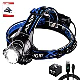 Aukelly LED Linternas Frontales Alta Potencia USB Recargable Linterna Frontal,LED Lámpara de Cabeza,3 Modos,Linterna Frontale Recargable,1000 Lumen Linterna Frontal para Camping,con Baterías