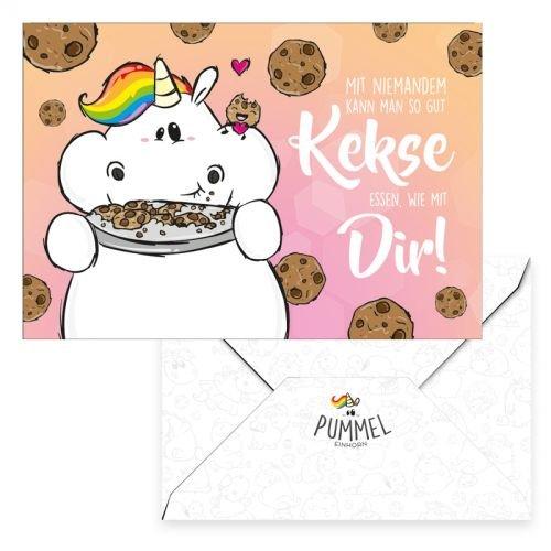 Pummel & Friends - Grußkarte - Pummeleinhorn (Mit Dir Kekse essen)