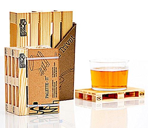 Miniatur Holzpalettenuntersetzer und Holzpalettenuntersetzer 4er Set Hot Pads zum Schutz Ihres Tisches und 4 Getränkeuntersetzer für Heißgetränke, Bier, Wein (1 Untersetzer, 4 Untersetzer)