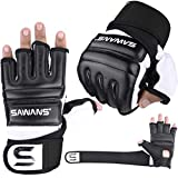 SAWANS Punch Bag Boxing Gloves Karate Mitts MMA Body Combat Taekwondo Training Martial Art Fighting Grappling Muay Thai (Black, Medium)