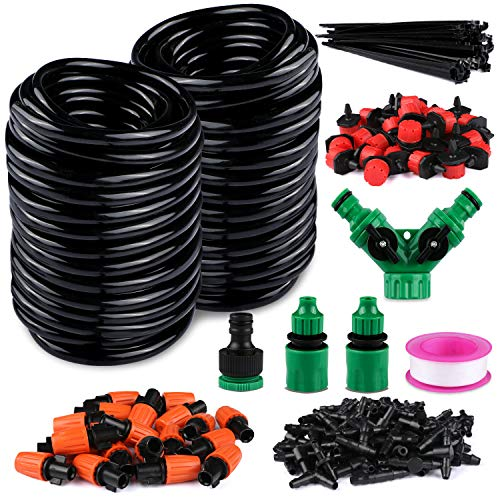 Philonext Drip Irrigation,100ft /30M Garden Irrigation System, Adjustable Automatic Micro Irrigation Kits,1/4' Blank Distribution Tubing Hose Suit for Garden Greenhouse, Flower Bed,Patio,Lawn (30M)