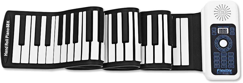 YHLU Tragbares 88-Key Handrollenelektronisches Klavier, Silikon + ABS-Elastisches Rollenklavier, LED-Digitalanzeige Verdickte Tastatur, Anfngerhand Rolltastatur