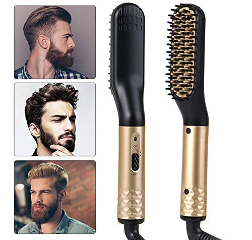 Electric Beard&Hair Straightener For Men,Aveloki Curling Hair Styler Straightening Straightener Heat Brush With Side Hair Detangling For Curler,Perfect For Home Travel