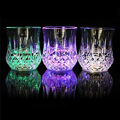 Moda Induttivo Colorato LED Bicchieri Vetro Vino Whisky Coppa Fascio di Luce Lampeggiante Acrilico Asta Festa Bibita Tazza Notte Luce Coppa