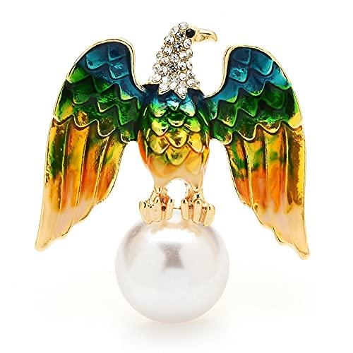 COLORFULTEA Broches De Águila Perla para Mujer, Hombre, Pájaro, Oficina, Broche Informal para Fiesta, Regalos