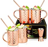 Moscow Mule Copper Mugs: Set of 4 Copper Hammered Moscow Mule Mugs Drinking Cup with 4 Copper Straws and a Jigger, Great Dining Entertaining Bar Gift Set