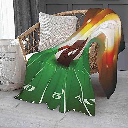 Manta deportiva con pelota de fútbol americano en la hierba, manta de microfibra de franela de lujo, ligera, acogedora, cálida manta de aire acondicionado, 152 x 127 cm