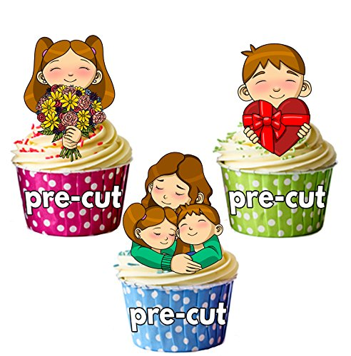 PRE-CUT día de la madre Mix – Decoración comestible para cupcakes/tarta decoración (Pack de 12)