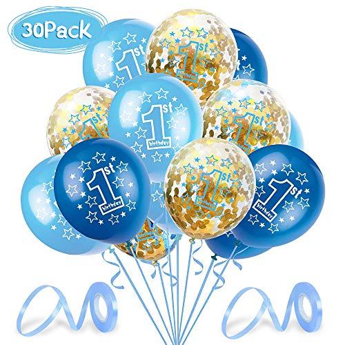 O-Kinee Geburtstagsdeko 1 Jahr Junge, Deko 1. Geburtstag, Luftballon Blau Konfetti zum 1. Geburtstag Party Kindergeburtstag Happy Birthday Dekoration Erster Geburtstag