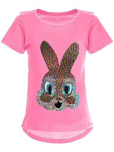 BEZLIT Mädchen Wende-Pailletten T-Shirt Hase-Motiv 22589 Dunkelrosa Größe 116