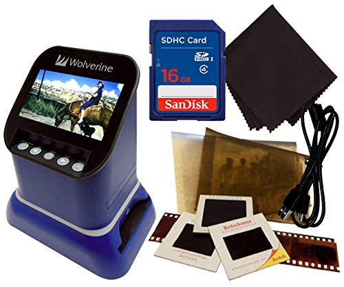 "Wolverine F2D Saturn Digital Film & Slide Scanner - Converts 120 Medium Format, 127 Film, Microfiche, 35mm Negatives & Slides to Digital - 4.3"" LCD, 16GB SD Card, Z-Cloth & HDMI Cable Included (Blue)"