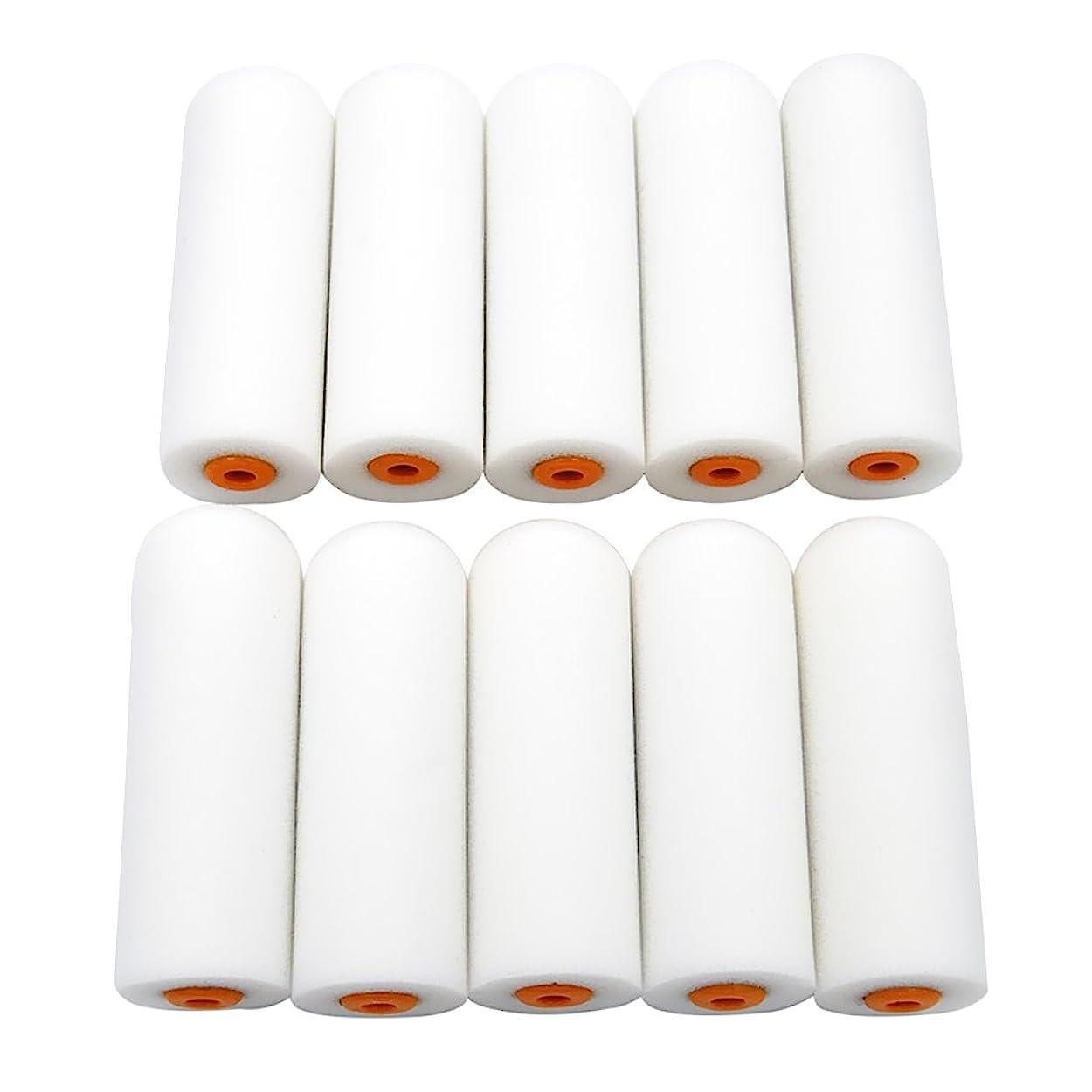 禁じるレタス強大なFutuHome 10個の耐久性のあるフォームスリーブが均等に配置され、小さな面積と精密な作業に適したスムーズなフラットヘッドミニローラー - WT001白色圆头