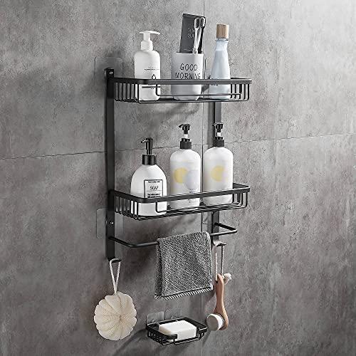 Gricol Quadratische Selbstklebende Duschablage ohne Bohren Aluminium Wandregale Speicherorganisator mit Bar Körbe auf 2 Ebenen mit Seifenschale für Küche und Bad Schwarz