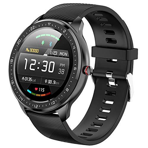 【Fitness smart Watch】- Bluetooth Touch Screen Fitness Tracker Smartwatch With Waterproof Heart Rate Monitor,Step Counter Sleep Fitness Watch,Compatible With IOS & Android for Women Men Teenager(Black)