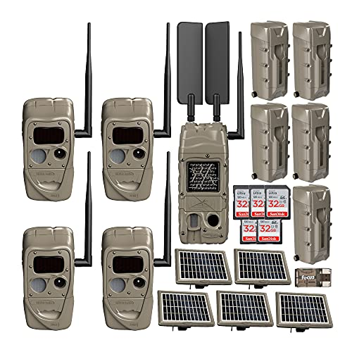 Cuddeback J-1538 CuddeLink Black Flash Trail Camera (4-Pack) with Cell Trail Camera and Solar Power Bank Bundle (21 Items)