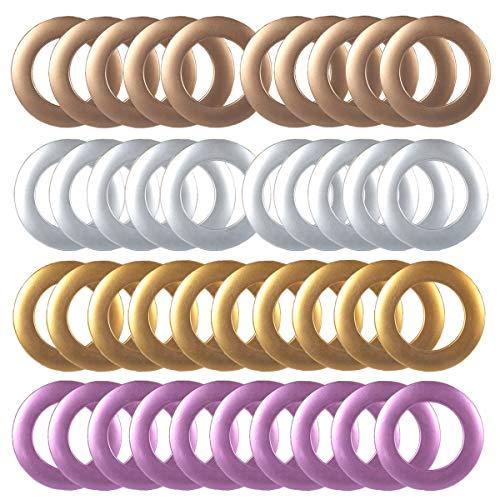 Counius 40 Piezas Anillos Cortina Plastic Redondos con Ojales 4mm diámetro Interno Ruido Bajo Accesorios Barra Cortina para Cortina Ducha y Bricolaje