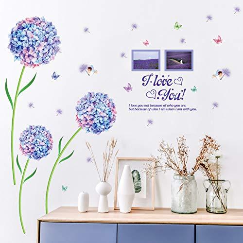 Diy Purple Hydrangea Flower Photo Wall Sticker Tv Sofá Fondo Dormitorio Decoración para el hogar Cartel decorativo Mural Art Window Stickers