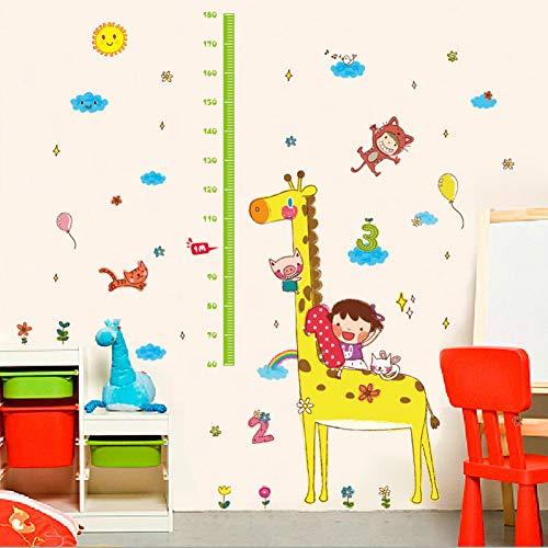 VCTQR Muurstickers Kids kamer giraf meten hoogte muur sticker schattige dierlijke wolk kind groei schaal sticker baby slaapkamer decoratie