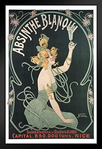 Poster Foundry Absinthe Blanqui Art Nouveau Likör-Werbung, Kunstdruck zum Aufstellen oder Aufhängen, Holzrahmen, 22,9 x 33 cm