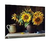 Placa para cubrir la vitrocerámica, 1 pieza, 60 x 52, girasol, amarillo, placas de cocina de cristal, decoración