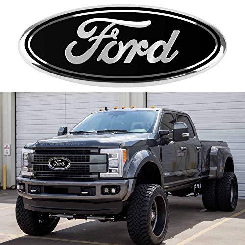 JINGSEN for Ford Emblem 9-inch 2004-2014 F150 front grille rear baffle logo, for F150, 2005-2007 F250 F350, 11-14 Edge, 11-16 Explorer, 06-11 Ranger(Black-A)