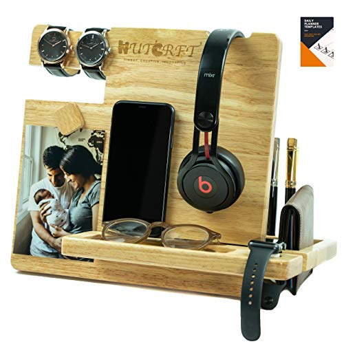WUTCRFT - Wood Docking Station/Nightstand Organizer for Multiple Devices with Headphone Stand, Smart...
