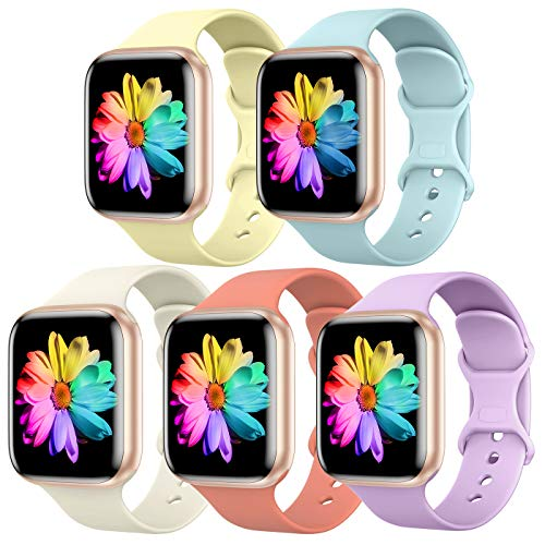 Sport Band Compatible for Apple Watch Band 42mm 44mm, SWHAS Soft Silicone Band Replacement Wrist Strap for iWatch Series 5/4/3/2/1,5 Pack D,Large Nevada