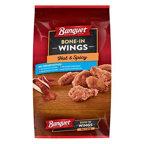 Banquet Hot & Spicy Bone In Wings, Frozen Meat, 22 OZ