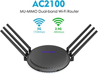 Wavlink Quantum D6 AC2100 WiFi Router, 2100Mbps MU-MIMO Wireless Router Gigabit Ethernet Dual Band Smart WiFi Box High Speed Long Range with Parental Control for Wireless Internet Large Home Gaming