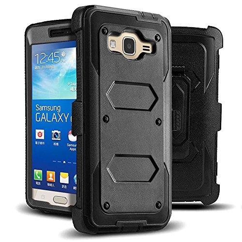 J.west Galaxy Grand Prime/Go Prime Case Rugged Holster Dual Layer Case [Kickstand][Belt Swivel Clip] for Samsung Galaxy Grand Prime (G530 G530H G530F G530M G530T G530AZ S920C), Black