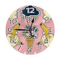 バナナ 雷 アイスクリーム 掛け時計 壁掛け時計 おしゃれ 北欧 連続秒針 サイレント コンパク 円形 ウォールクロック 静音 デジタル置き時計 電池式 部屋装飾 プレゼント 直径約25CM