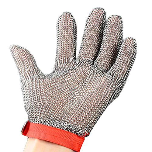 Schnittfeste Handschuhe-XHZ Metallhandschuhe aus Edelstahl 304, schnittfeste Handschuhe mit fünf Fingern, Silber, Größe: XS - L EIN Handschuh (Size : X-Small)